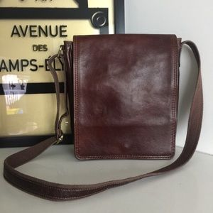 Old Angler Italy Brown Leather iPad Crossbody Bag